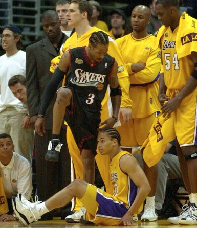 Allen Iverson Crosses Tyronn Lue in 2001 NBA Finals  1f55f9ea9